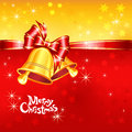 Vector greeting card with christmas bells bow and red gold snowflakes Stock Photo