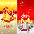 Vector greeting card with christmas bells bow and red gold snowflakes Stock Images