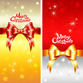 Vector greeting card with christmas ribbons bow a red and gold and snowflakes Stock Image