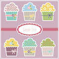 Vector greeting card with cupcakes Stock Images