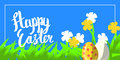 Vector greeting card for happy easter with hand lettering calligraphy and Illustrations in landscape composition