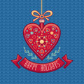Vector Greeting Card in heart form. Happy Holidays