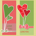 Vector greeting card with hearts colourful Stock Photography