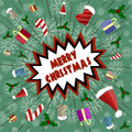 Vector greeting card in retro style. Holiday explosion of fun, gifts, candy, Santa Claus caps. Royalty Free Stock Photo