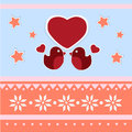 Vector greeting card for valentines day with birds Stock Images