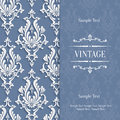 Vector Grey 3d Vintage Invitation Card with Floral Damask Pattern