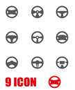 Vector grey steering wheels icon set Royalty Free Stock Photo