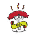 Vector : Grill Restaurant badge logo on white background,Barbecu