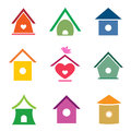 Vector group of bird houses Royalty Free Stock Photo