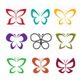 Vector group of butterfly design on white background. Insect.