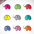 Vector group of colorful elephant on white background Stock Images
