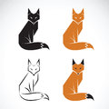 Vector group of fox design on white background. Fox icon.