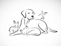 Vector group of pets - Dog, cat, bird, rabbit, Royalty Free Stock Photo