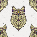 Vector grunge colorful seamless pattern with tribal style wolf with ethnic ornaments