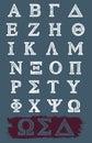 Vector Grunge Greek Alphabet Royalty Free Stock Photo