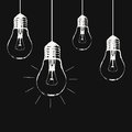 Vector grunge illustration with hanging light bulbs Royalty Free Stock Photo