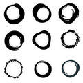 Vector grunge ink brush Circle border sets Royalty Free Stock Photo