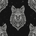 Vector grunge monochrome seamless pattern with tribal style wolf