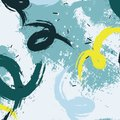 Vector grunge pastel blots in blue yellow colors. Wavy dynamic minimalistic pattern. Natural abstract brush stroke