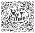 Vector grunge poster design with Halloween hand lettering Royalty Free Stock Photo