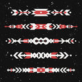 Vector grunge set of decorative ethnic borders with american indian motifs