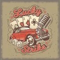 Vector grunge vintage illustration, poster with four card aces, retro car and old microphone Royalty Free Stock Photo