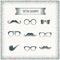 Vector halftone dots hipster icon over vintage