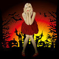 Vector halloween background scary woman with pumpkin bats and witch Royalty Free Stock Photography