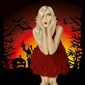 Vector halloween background scary woman with pumpkin bats and witch Stock Photography
