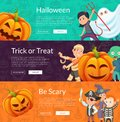 Vector halloween banner set template with cartoon pumpkins and kids in pirate, mummy and skeleton cotumes