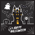 Vector halloween card with a haunted house Stock Image