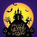 Vector Halloween card, poster, illustration. Trick or treat lettering. Scary castle silhouette on big moon, trees Royalty Free Stock Photo