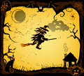 Vector halloween card with witch on a broom Stock Photos