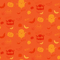 Vector halloween ghost bat pumpkin seamless patt pattern background Stock Image