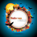 Vector Halloween Party Background with Pumpkins. Royalty Free Stock Photography