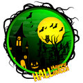 Vector Halloween party, grave, circle background design with pumpkin,bat and full moon Royalty Free Stock Photo