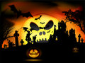 Vector Halloween scene Royalty Free Stock Photos