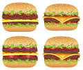 Vector hamburgers and cheeseburgers Royalty Free Stock Photography