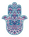 Vector hamsa hand drawn symbol with ethnic floral ornaments in Pink and Blue colors. Royalty Free Stock Photo