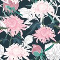 Vector hand draw seamless pattern with Japanese chrysanthemum and peonies.