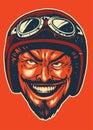 Hand drawing of devil wearing motorcycle helmet Royalty Free Stock Photo