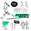 Vector hand drawn active people sketch  on white background. Royalty Free Stock Photo