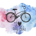 Vector hand drawn bicycle on watercolor background Royalty Free Stock Photo