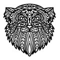 Vector hand drawn cat face Manul with ethnic doodle patterned illustration.
