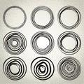 Vector : hand drawn circles, design elements