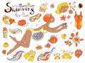 Vector hand drawn collection. Mom and baby. Swimming