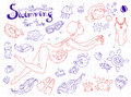Vector hand drawn collection. Mom and baby. Swimming for pregnant