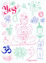 Vector hand drawn collection. Mom and baby. Yoga for pregnant