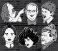 Vector hand drawn collection of portraits made in comics stylw