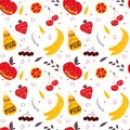 Vector hand drawn colorful fruit seamless pattern with pears, cherries, berries.